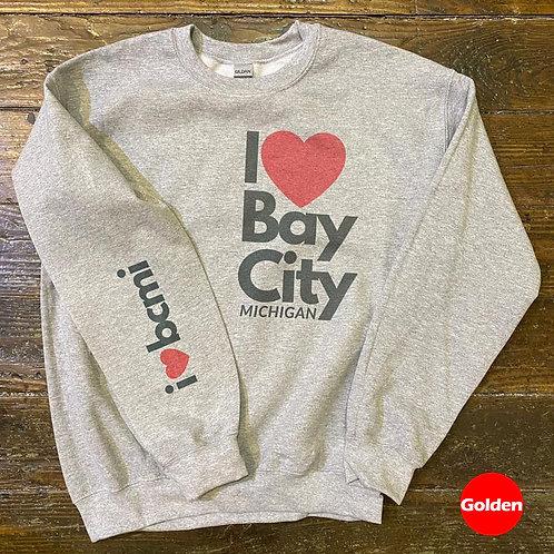 """Heart On Your Sleeve"" Bay City Michigan Sweatshirt #madeinbaycity"