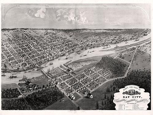 Bird's Eye View of Bay City - 1867  size 32in x 23in