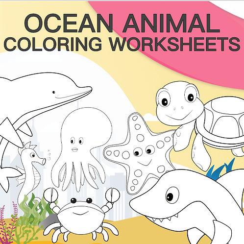 Sea Animal Kindergarten Coloring Worksheets