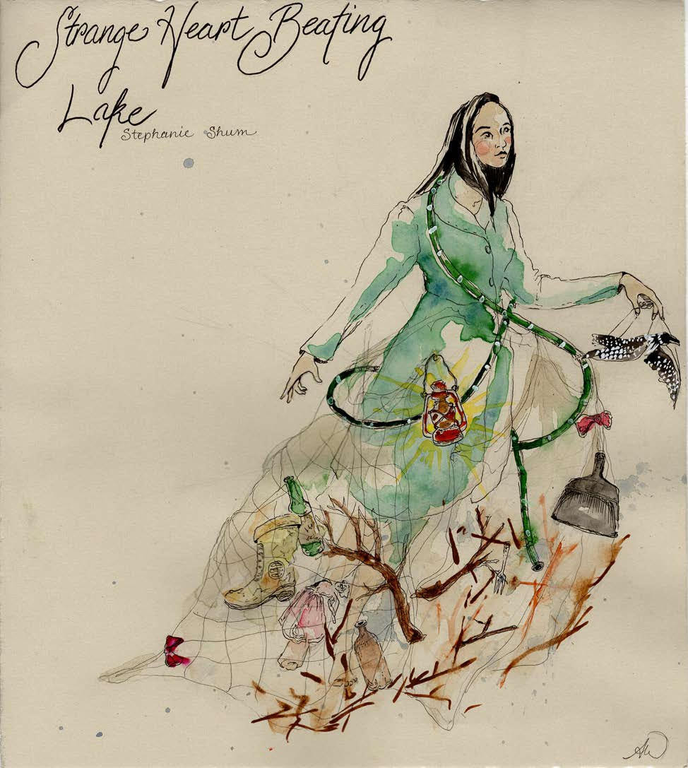 Hand drawing (watercolor) of a woman in an elaborate green dress with wood and other detritus embedded in the skirt.