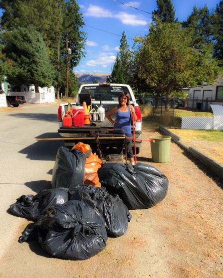 hauling garbage