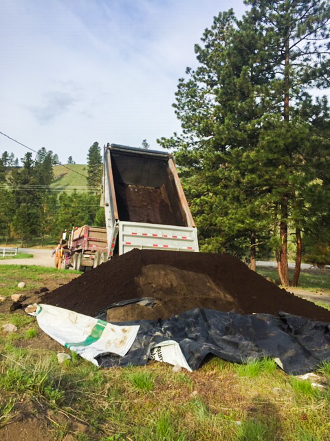 dump truck and soil delivery