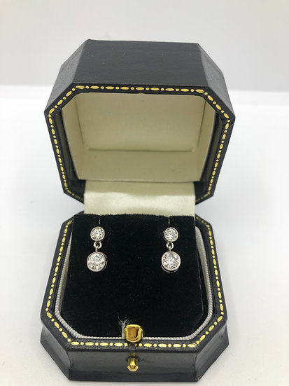 Diamond Bezel Double Drop Earrings