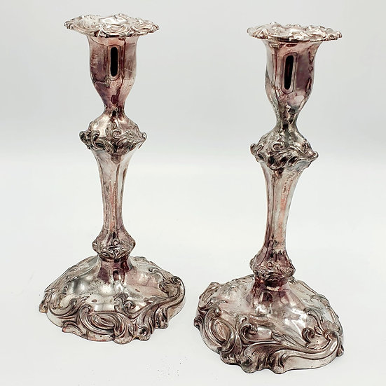19thc Silverplate Candlesticks