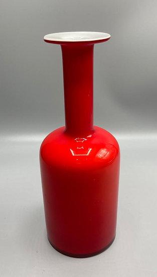 "10""red cased Otto Brauer vase for Holmegaard, Denmark"