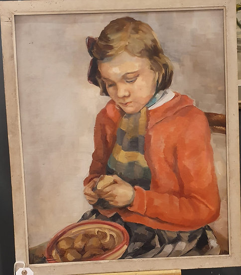 Child Peeling Vegetables Painting