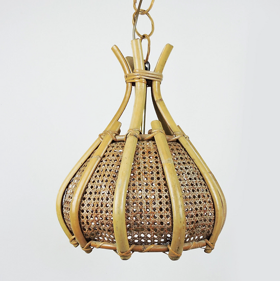 Cane and Wood Ceiling Light