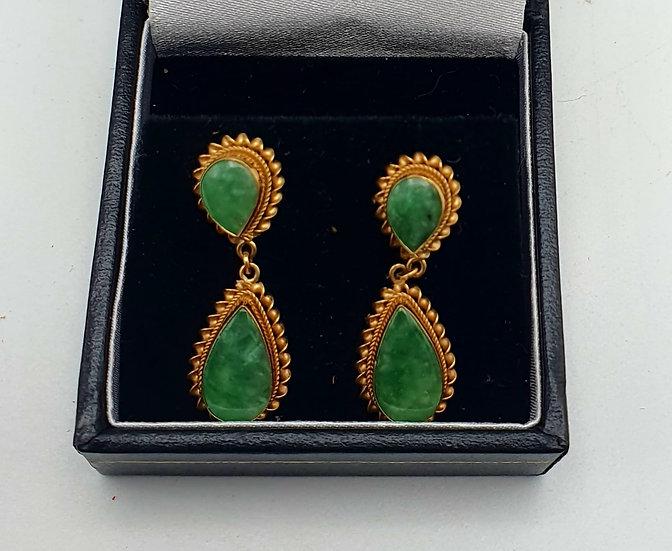 Gold & Jade Earrings