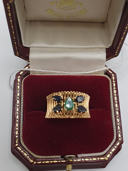 Gold Emerald and Sapphire Ring