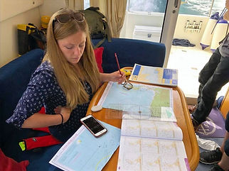 Woman studying Yachtmaster course materials