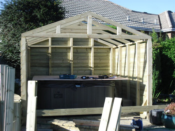 Hot tub house under construction