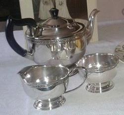 Silver teaware.