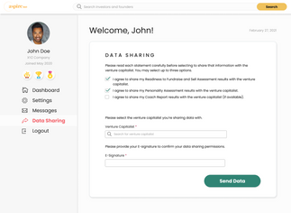 Founder Data Sharing - Initial Page