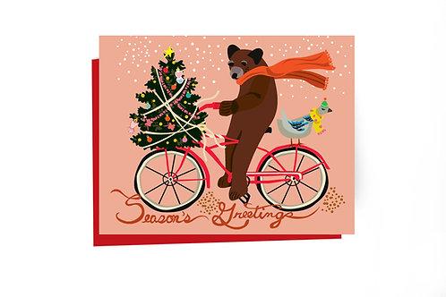 Biking Bear Holiday Note Card