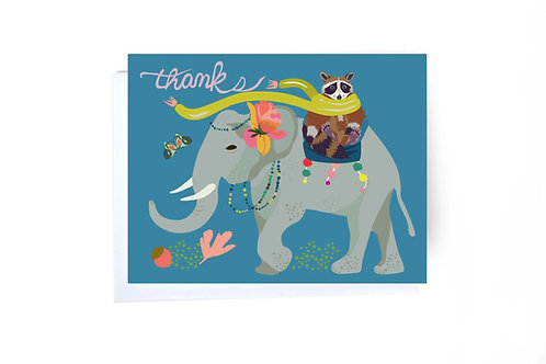 Elephant & Racoon Note Card