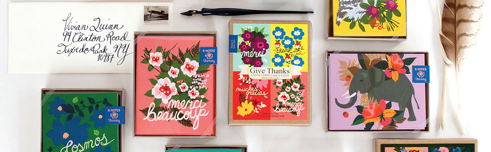 Thank you notes, garden notes, elephant, flowers