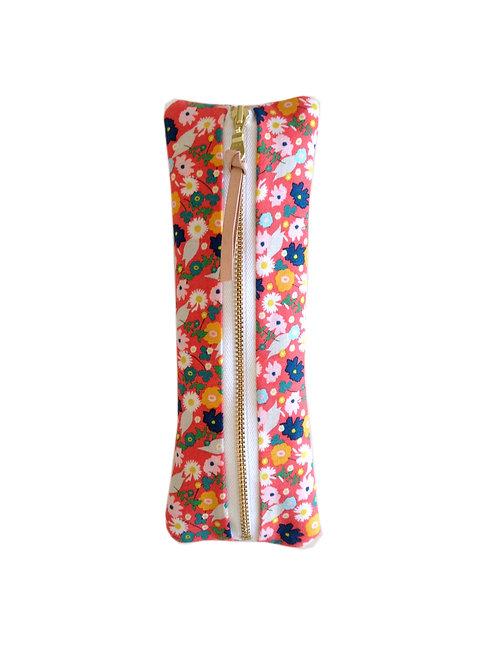 Coral Confetti Flower Pencil Case