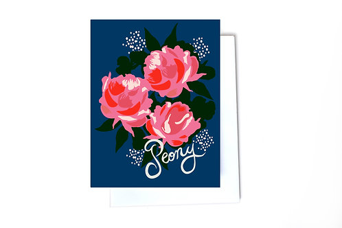 Peony Note Card