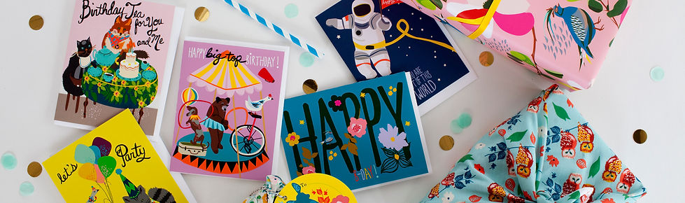 whimsical birthday cards, astronauts, tea party, let's party, happy birthday, cheetah, racoon, bear