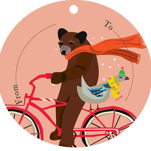 Bear on Bike Gift Tags