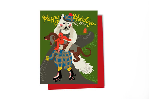 Fox in Plaid Pants Holiday Note Card