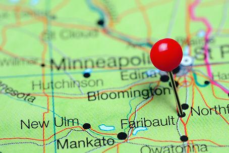 Faribault pinned on a map of Minnesota,