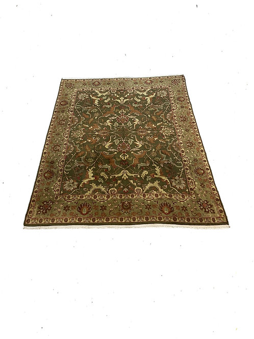 8x10 Green/Gold Indian Rug