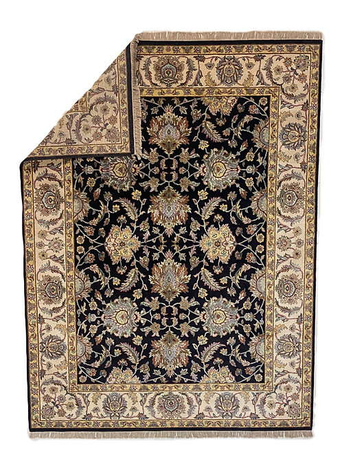 Black and Beige Handmade Indian Rug
