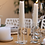 white candles on dinning table