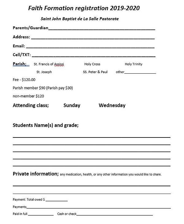 Faith Formation Registration Form 2019-2