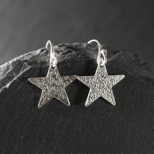 Hammered Silver Star Drop Earrings