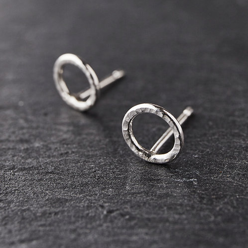 Small Hammered Silver Circle Studs