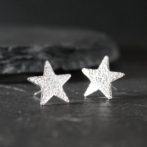 Hammered Silver Star Stud Earrings