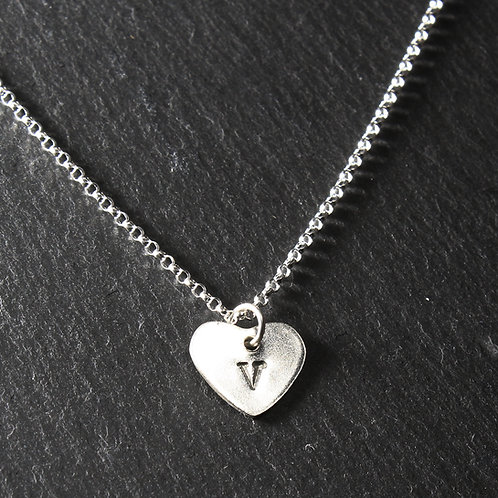 Silver Personalised Small Heart Pendant