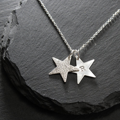 Medium Double Hammered & Personalised Star Necklace