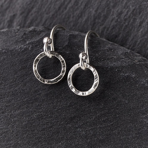 Small Hammered Silver Drop Earrings