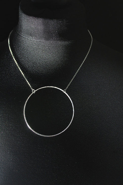 Large Circle Silver Hammered Short  Necklace