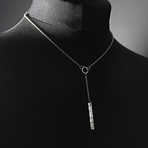 Handmade Silver Hammered Bar Necklace