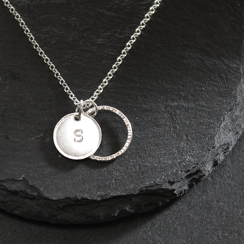 Silver Personalised Disc/Hoop Necklace
