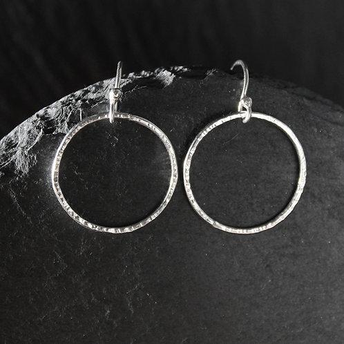 Medium Hammered Silver Drop Earrings
