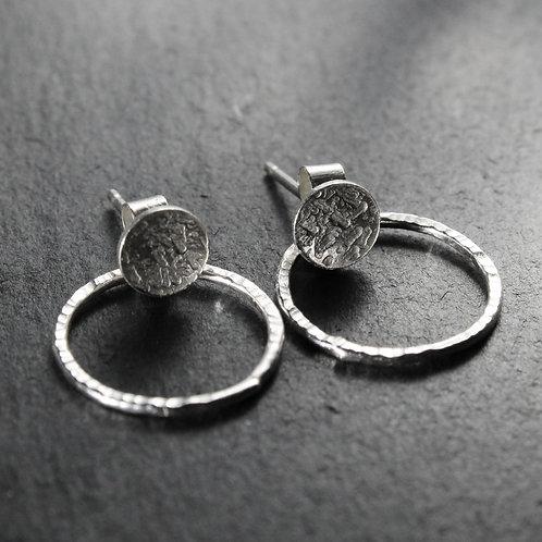 Silver Stud Circle Back Earrings