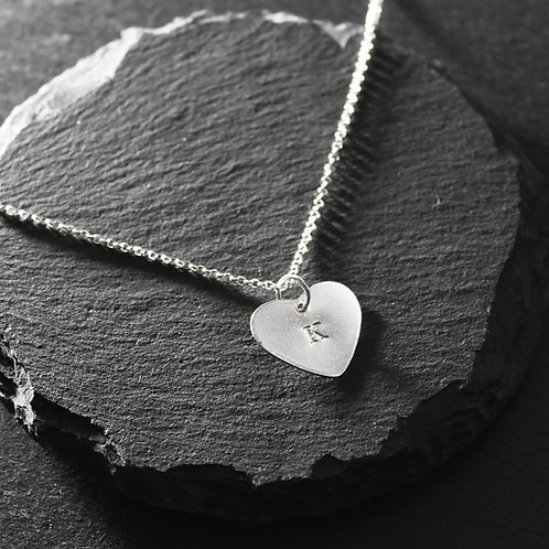 Silver Personalised Medium Heart Necklace