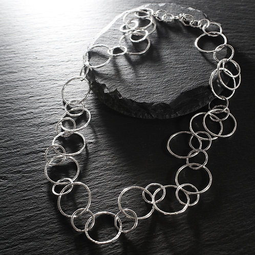 Long Hammered Silver Circle Necklace