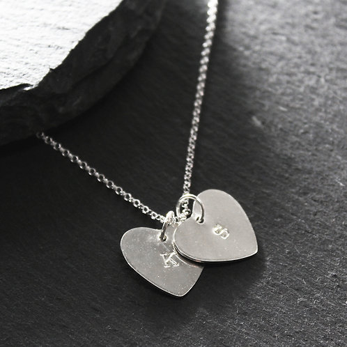 Silver Medium Double Heart Personalised Necklace