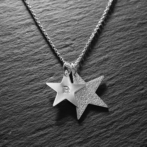 Large Double Star Hammered & Personalised Necklace