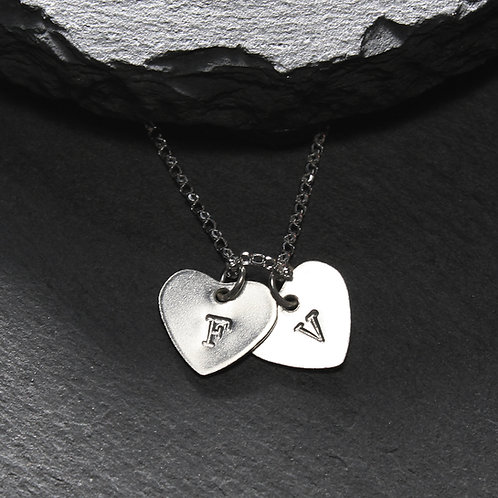 Silver Personalised Double Heart Necklace