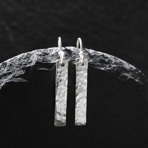 Handmade Hammered Silver Drop Bar Earrings