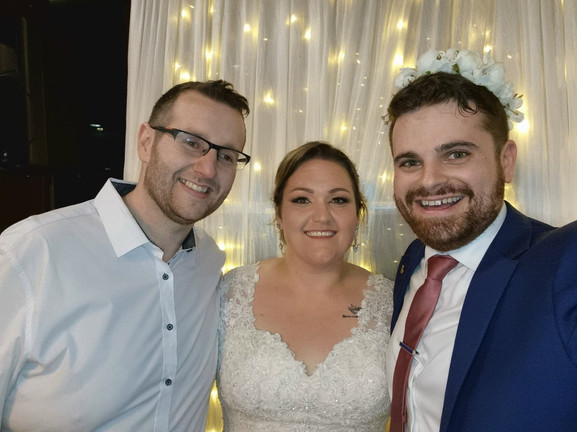 Nathan Cassar: Master of Ceremonies with newlyweds, Brad and Toni