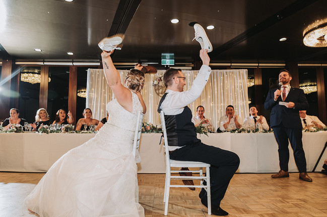Nathan Cassar: Master of Ceremonies playing the shoe game with newlywed couple Toni and Brad