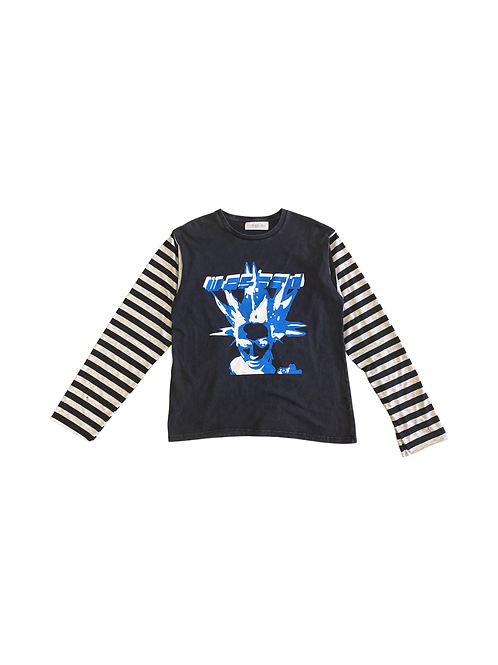 Black blue and white striped long sleeve